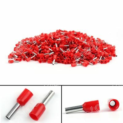 1000x E2508 Wire Copper Crimp Connector Insulated Terminal 14AWG 2.5mm² Red USA