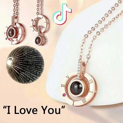 100 languages I LOVE YOU Pendant Necklace Lover Jewelry Memorial Day Xmas Gifts