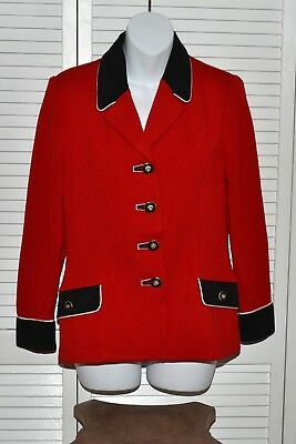 ST. JOHN Collection By Marie Gray Size 4 Red Knit Black Suede Jacket Blazer
