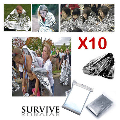 10PCS First Aid Foil Thermal Emergency Blanket Survival Rescue Waterproof Hiking