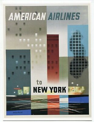 American Airlines to New York City Skyline 2012 Vintage Travel Poster Postcard