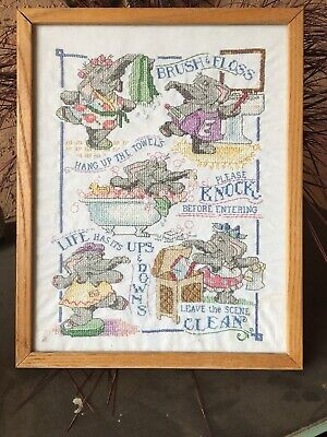 Completed Cross Stitch Elephant Brush & Floss, Hang Up Towels, Knock, Clean,
