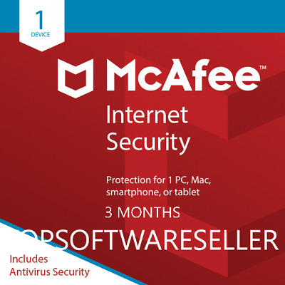 McAfee Internet Security 2019 1PC 3MONTHS GLOBAL ACTIVATION