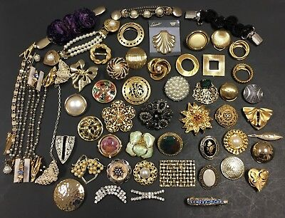 56 Pc LOT Vintage Jewelry Scarf Shoe Dress Sweater CLIPS Buckle Signed LT6zvb