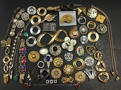 55 Pc LOT Vintage Jewelry Scarf Shoe Fur Dress Sweater CLIPS Buckle Signed LT9zt