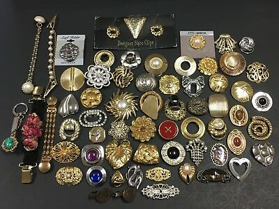 65Pc LOT Vintage Jewelry Scarf Shoe Sweater CLIPS Brooch Buckle Signed LT5zs