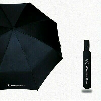 Genuine Mercedes-Benz Compact Folding Black Automatic Umbrella With Cover Gift