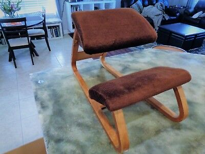 True Vintage Kneeling Chair Mid Century Modern Bent Wood Balans Style Ergonomic