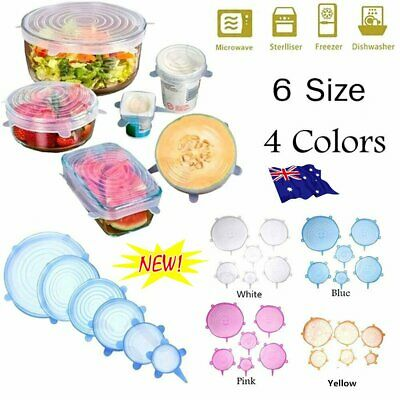 6PCS Stretch Reusable Silicone Bowl Wraps Food Saver Cover Seal Insta Lids MN