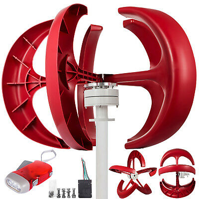 Wind Turbine Generator 600W 12V W/Charge Controller Red Axis Vertical HIGH GRADE