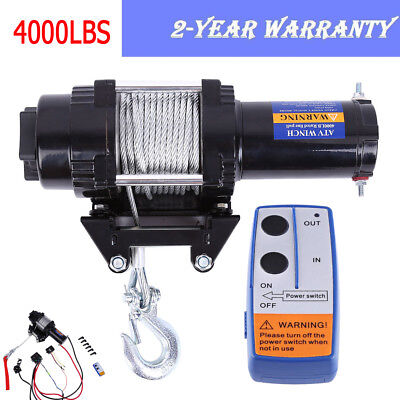 4000lb Automatic Electric Recovery Cable Winch 12V Remote Control Rope Trailer