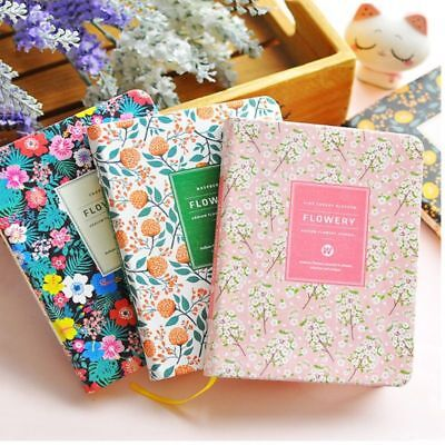 1x Notebook Floral Schedule Book Diary Korean Cute PU Leather Covers Planners