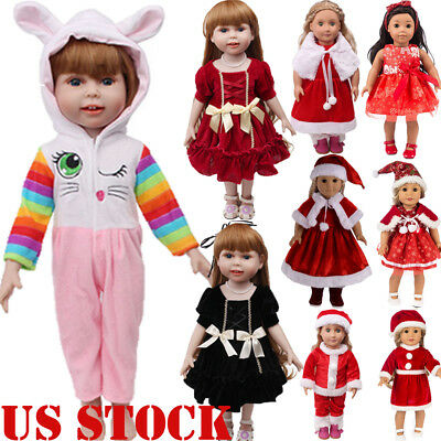 Lot Doll Clothes Christmas Dress Kit Outfit For 18'' Fashion Girl Xmas Gift