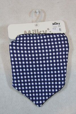 Baby Boy One Size Milky Summer Navy Check Bandanna Bib NWT