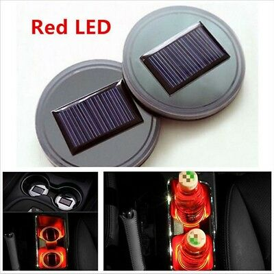 2stk Auto Solar Cup Holder Boden Pad LED Licht Abdeckung Atmosph?re Lampe Rot GE