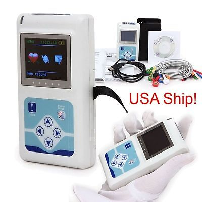 Newest USA 12-channel ECG/EKG Holter System/Recorder Monitor ​Analyzer Software,