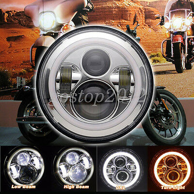 """7"""" Motorcycle Halo Angel Eyes Chrome LED Headlight Projector Daymaker For Harley"""