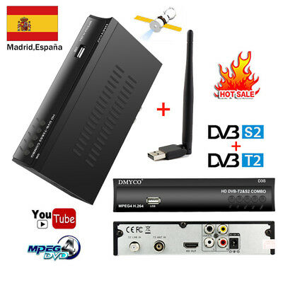 ES DVB T2 S2 Combo Decoder Satellite Receiver+USB WIFI PVR MPEG4 Support Youtube
