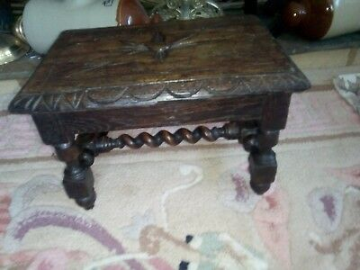 Antique Arts & Crafts Carved Oak Foot Stool Prayer Stool Stunning Solid Piece