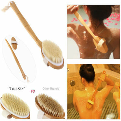 Shower Back Scrubber Brush Scrub Bath Body Long Handled Natural Cleaning