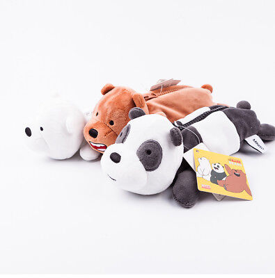 MINISO We Bare Bears Plush Cartoon Pencil Case Pen Makeup Stationery Bags Gift