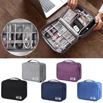 Electronics Accessories Organizer Travel Storage Hand Bag Cable USB Drive Case^S
