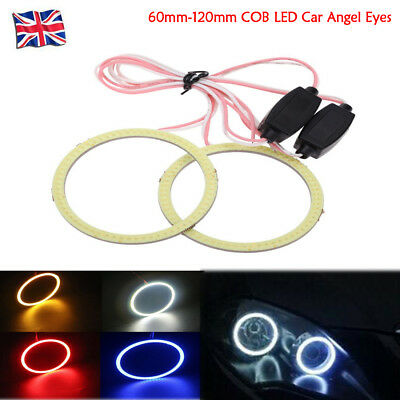 2PCS 60mm-120mm COB LED Car Angel Eyes Headlight Light Halo Ring For BMW FORD