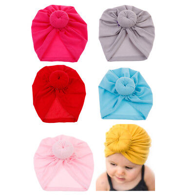 Color toddler infant baby kids cotton turban knot  hat head wrap headband  ^S