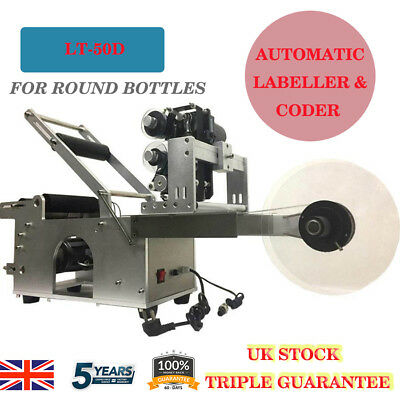 Automatic Labeling Machine Round Bottle & Date Code Printer Labeller LT-50D UK
