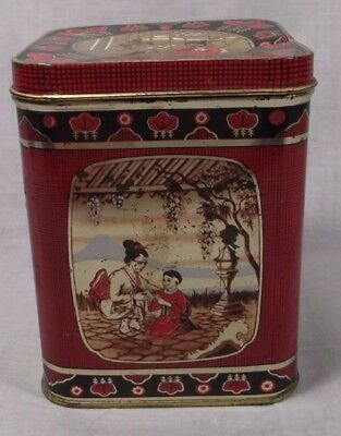Nice Asian Japanese Tea Tin Scenes On All Sides Red Black Made In England 4""