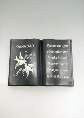 Grey Slate Grandad Doves Book With Verse Memorial Plaque Funeral Rip Ornament