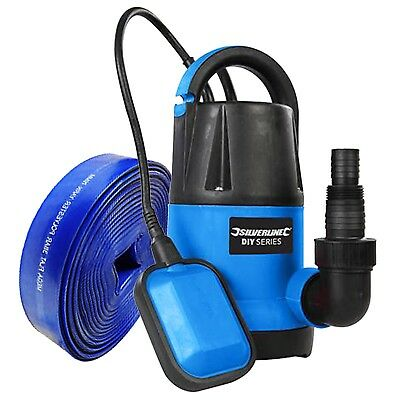 Submersible Water Pump 250w + 10m Hose Fast 5000 ltr/hr Flow Silverline DIY