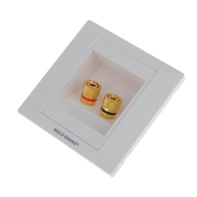 2pc Binding Post Banana Plug Speaker Terminal Square Shape Wall Face Plate