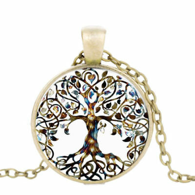 Cabochon Pendant Tree Of Life Time Gem Chain Necklace Chic Jewelry Vintage