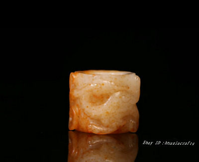 3.8cm collect China Natural Hetian Jade Hand-carved Beast Dragon Ring HJJO