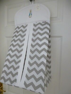 Baby Nappy Stacker Grey/White Chevron 'PETER RABBIT' Nursery Shower Gift - NEW