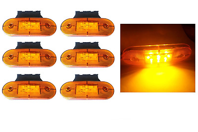 Set 6 24V Smd Luci 9 LED Luci Ingombro  + Supporti Arancio Daf Man Scania
