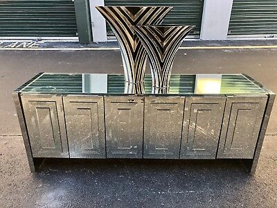 Fantastic Mid Century Hollywood Regency Six Door Triple Mirror Credenza