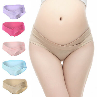 4PCS Cotton Panties for Pregnant Women Under The Bump Low Waist Maternity Wear