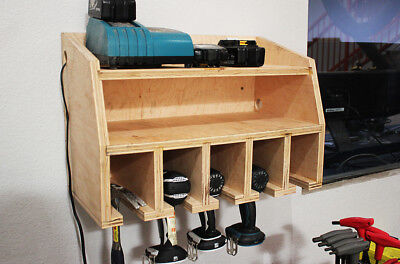 Birch Ply Wooden CNC Craft Electric Drill Organizer Station Tool Holder Cabinet
