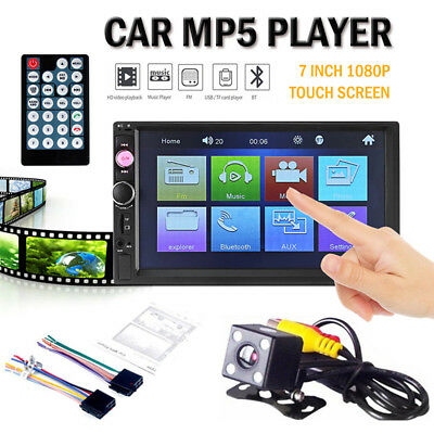 "7"" Car Stereo Radio FM/MP5 Player Touch Screen Double 2 Din Bluetooth HD 1080P"