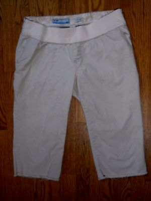 Women's Old Navy Maternity Stretch Capri cut off off white pants shorts  size S