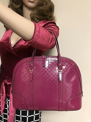050f238755c9bc AUTH GUCCI NICE Microguccissima Patent Leather PINK ITALY Top Handle Handbag