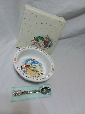 Avon Baby Keepsake Spoon and Bowl Set Hey Diddle Hickory Dickory With Box