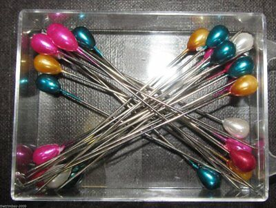 Colour Headed Extra Long Pins - Assorted Colours 80mm long  144 per box