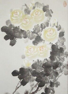 CHINESE PAINTING HANGING SCROLL ROSE ASIAN ART China Antique OLD VINTAGE INK e85