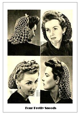 Vintage Knitting/Crochet Pattern 1940s/WW2 Lady's Snoods/Hair Nets. 4 designs.