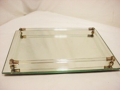 """Dresser Vanity Mirror Perfume Tray Glass Rods Godinger Silver Co Footed 12x9"""""""