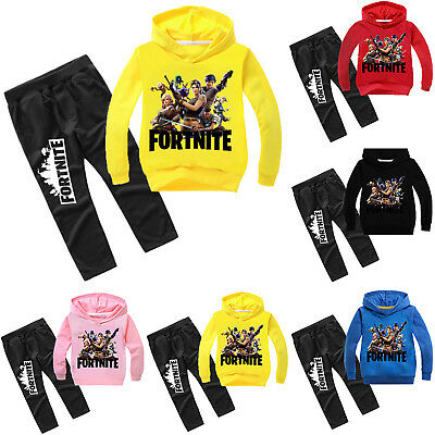 Fortnite Kinder Jungen Traininganzug Kapuzenpullover Sweatshirt Tops Hose Set DE