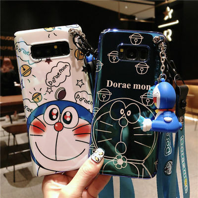 Cartoon Doraemon Bling Doll Strap Soft Case for Samsung Galaxy S10+ S9 S8 Note 9
